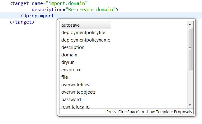 Using auto-complete to see list of attributes for dpimport